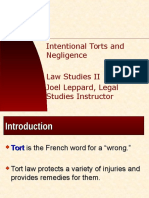 Intentional Torts, Neglience and Personal Injury, Law Studies II, Joel Leppard, Legal Studies Instructor