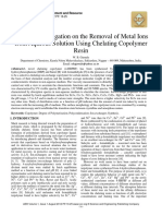 Sorption Investigation on the Removal of Metal Ions from Aqueous Solution Using Chelating Copolymer Resin