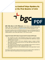 BGC Partners Limited Tokyo Updates Its Outlook for the First Quarter of 2016