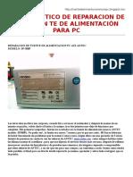 Reparacion de Fuente de Alimentacion Pc Atx Antec