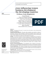 Factors influencing women business development in the developing countries
