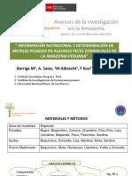 Información Nutricional y Determinación de Metales Pesados en Algunos Peces