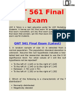 QNT 561  | QNT 561 Final Exam  | UOP E Tutors