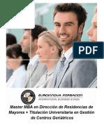 Máster MBA en Dirección de Residencias de Mayores + Titulación Universitaria en Gestión de Centros Geriátricos