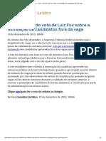 ConJur - Leia o Voto de Luiz Fux Sobre a Nomeação de Candidatos Fora Da Vaga