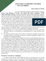 Nuevos estudios para la minería colonial en los Andes por  César Espinoza Claudio