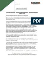 22-08-16 Anuncia Gobernadora Pavlovich inversión de más de 100 millones de pesos en Agua Prieta. C-081687