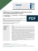 (G)2014 Fiabilidad de Los Test de Diagnóstico de Disfunción Sacroilíaca y de Las Pruebas Exploratorias de La Pelvis