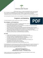 Stellenausschreibung FERIENLAND SALEM - Programm & Marketing