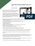 Equipos o Sistemas de Protección Personal Para Trabajos de Altura Con Riesgos de Caída