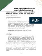 Estratégias de Indeterminação Do Sujeito Na Variedade Linguística Feirense- Um Estudo Comparativo Entre a Norma Culta e a Popular