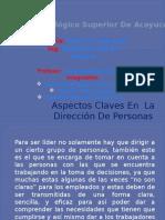 Aspectos Claves en La Direccion de Personas