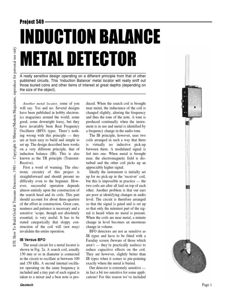 Eti549au 300 Amplifier Inductor Fig 1 Simple Bfo Metal Detector Schematic Diagram