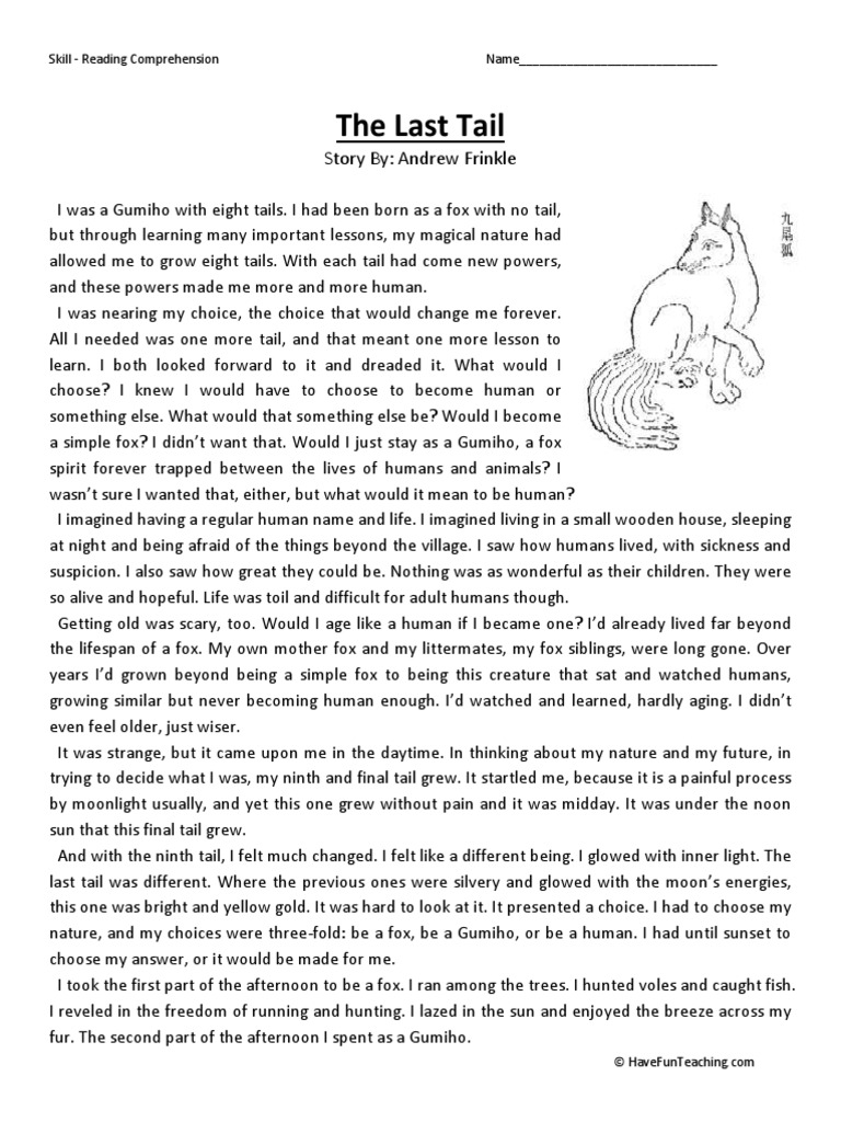 The Last Tail Fourth Grade Reading Comprehension Worksheet