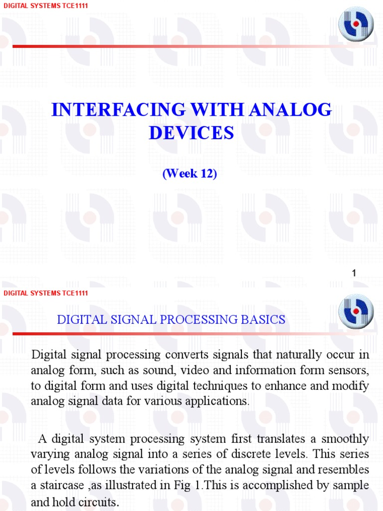 Interfacing With Analog Devices Week 12v2 To Digital Sample And Hold Converter Signal Processing