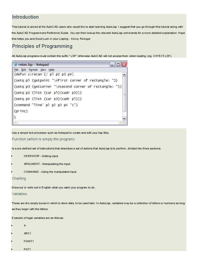 Auto LISP Programing Guide | Data Type | Bracket