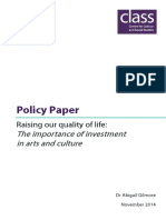 2014 Policy Paper - Investment in the Arts - Abi Gilmore