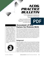 No. 31. Assessment of Risk Factors for Preterm Birth
