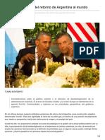 Nuevas Paradojas Del Retorno de Argentina Al Mundo