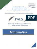 Ítems de La PAES 2014 y Justificaciones de Las Opciones de Respuestas - Matemática