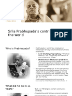 Prabhupada's Contributions to the World