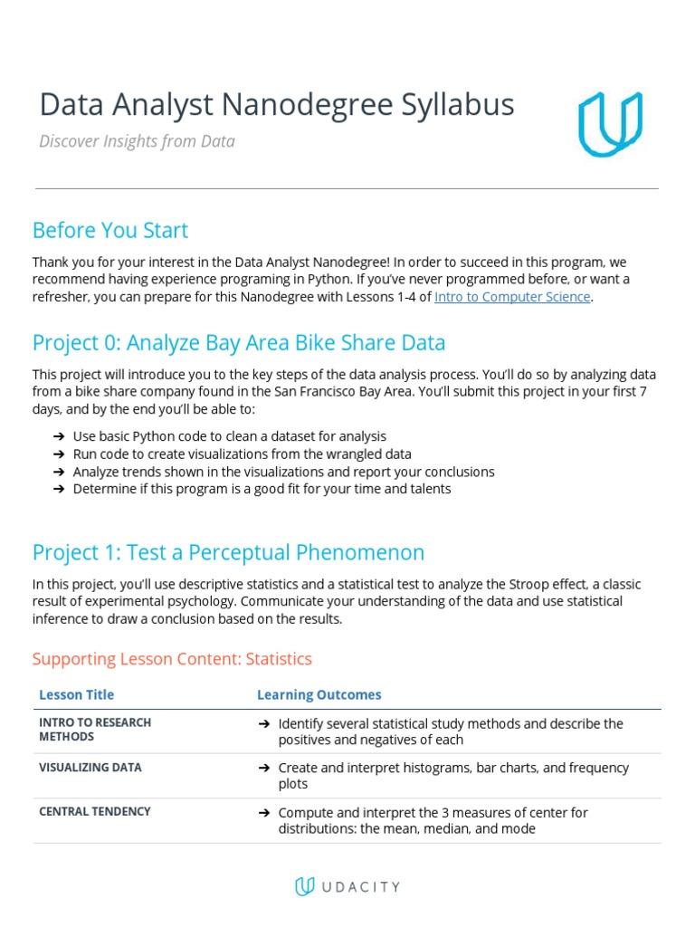 udacity-dandsyllabus | Data Analysis | Machine Learning