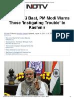 On Mann Ki Baat, PM Modi Warns Those 'Instigating Trouble' in Kashmir