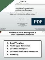 Automatic Value Propagation in Code Generator Templates