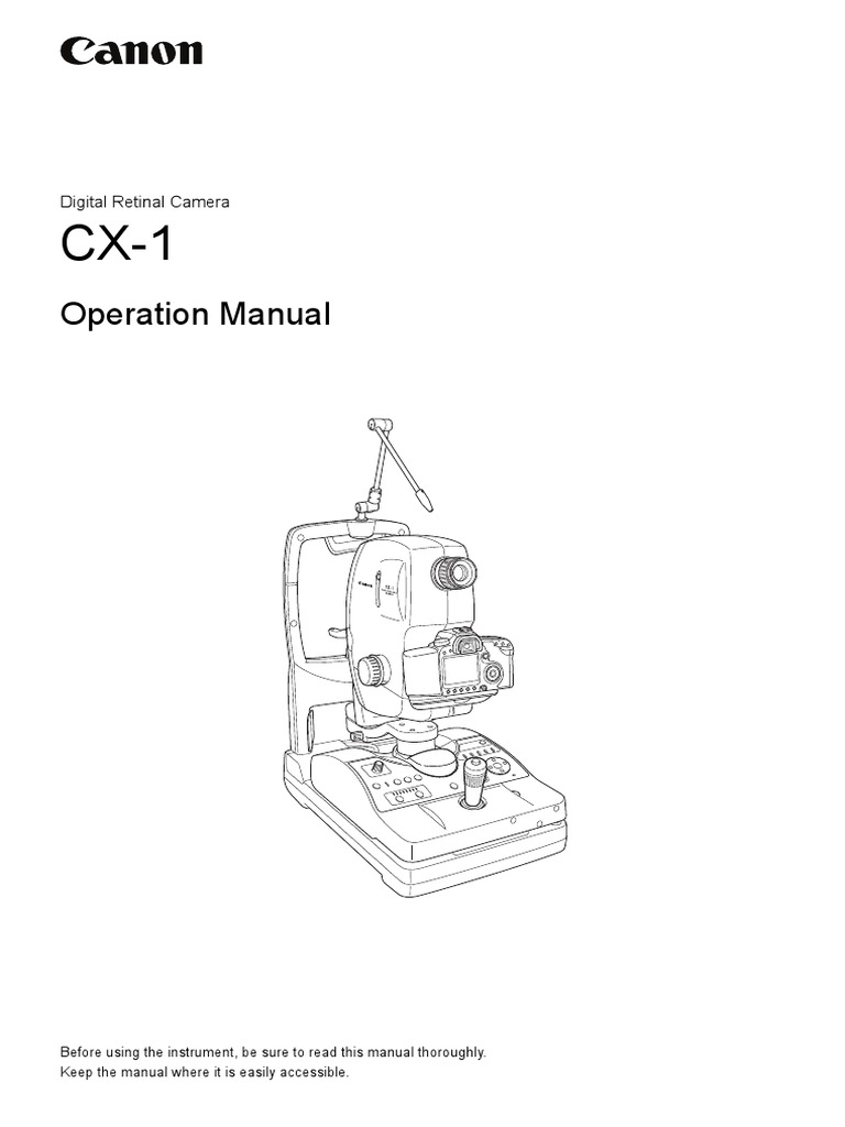 Digital Retina Camera CANON CX-1 Operation Manual