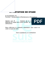 Exemple Attestaexemple Attestation de stagetion de Stage