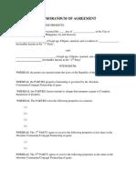 Memorandum of Agreement Separation of Property