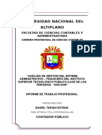 Analisis de Gestion Del Sistema Administrativo-financiero Del Istp-ilave Periodos 1999-2000 Autor