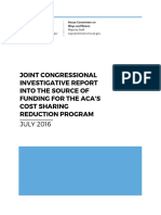 Joint Congressional Investigation Report into the Source of Funding for the ACA's Cost Sharing Reduction Program, July 2016