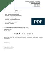 DF 001-2016 CIRCULAR Tarifas Para Contratación de Servicios 2016