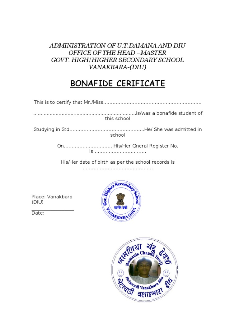 Bonafide certificate yadclub Images