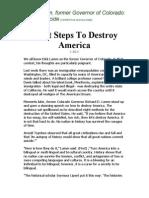 Eight Steps To Destroy America - Colorado Gov. Richard Lamm