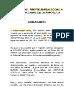 Declaración Frente Amplio Social FAS