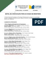DG 06/2016 - EDITAL DE CONVOCAÇÃO PARA AS VAGAS DE MONITORIA