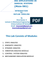 Computing Applications in Mechanical Systems (MATLAB Simulink)