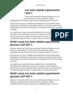 NASA Lanza Con Éxito Satelite Experimental Peruano UAP SAT