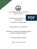 Monografía 2_Tratamiento y Reparación Del Papel de Guarda, (La Fijación Del Papel de Guarda_ Jean Pierre Hurtado Jácome