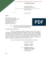2016-08-24 - DOJ Letter to Court Regarding New Declaration (Flores v DOJ)