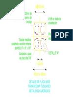 Detalle de Placa Base y Tubular Metalico