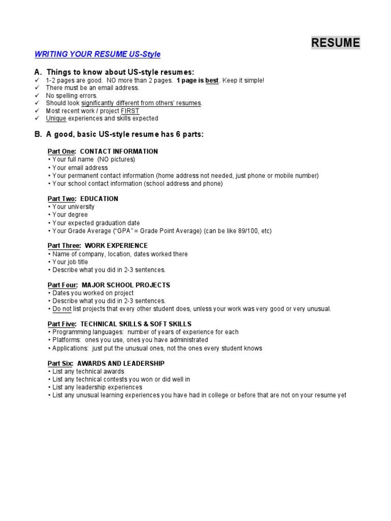 us resume websites databases - Us Style Resume