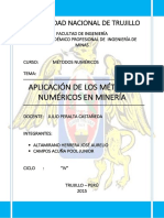 APLICACIÓN DE LOS MÉTODOS NUMÉRICOS EN MINERÍA