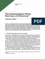 The Epistemological Moral Relevance of Democracy