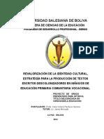 1celia.universidad Salesiana de Boliva Indice y Caratula