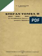 (1926) Stefan Tomsa II (1611-1616, 1621-1623) & Rivalitatea Turco-polona Pentru Moldova [N.C. Bejenaru]