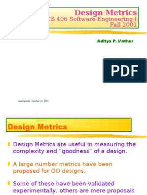 Design Metrics Software Engineering Cognitive Science
