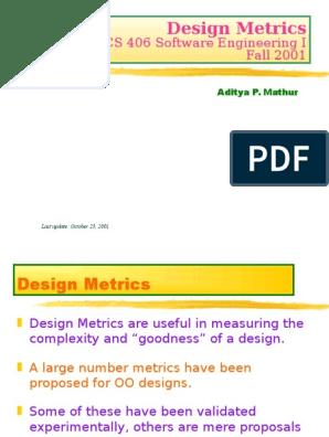 Design Metrics Software Engineering Cognitive Science